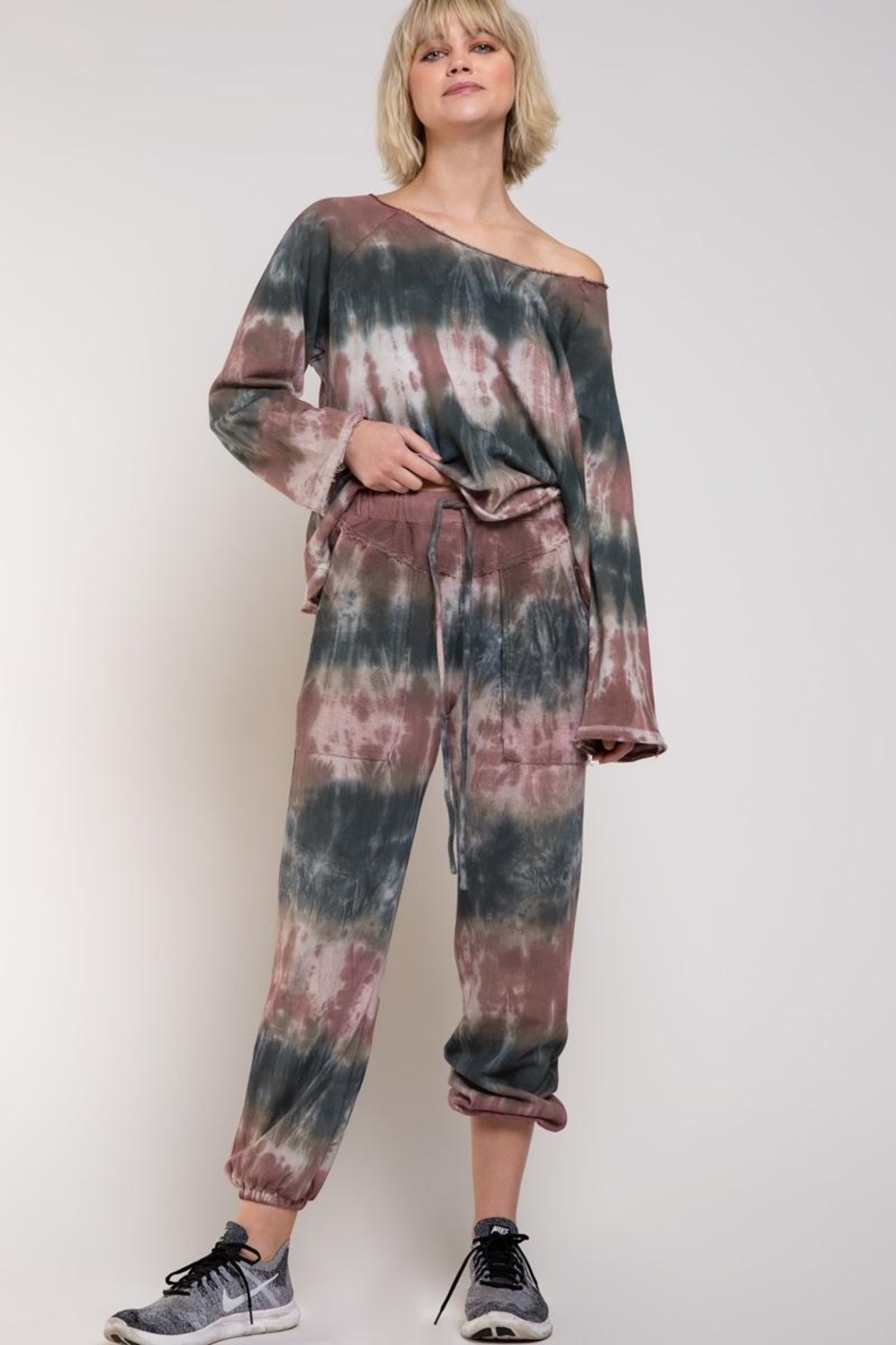 POL French Terry Top Tie Dye - Side Cropped Image