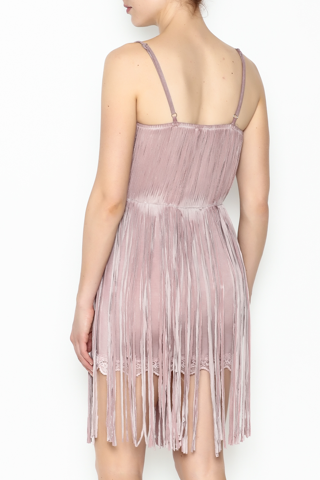 POL Fringe Slip Dress - Back Cropped Image