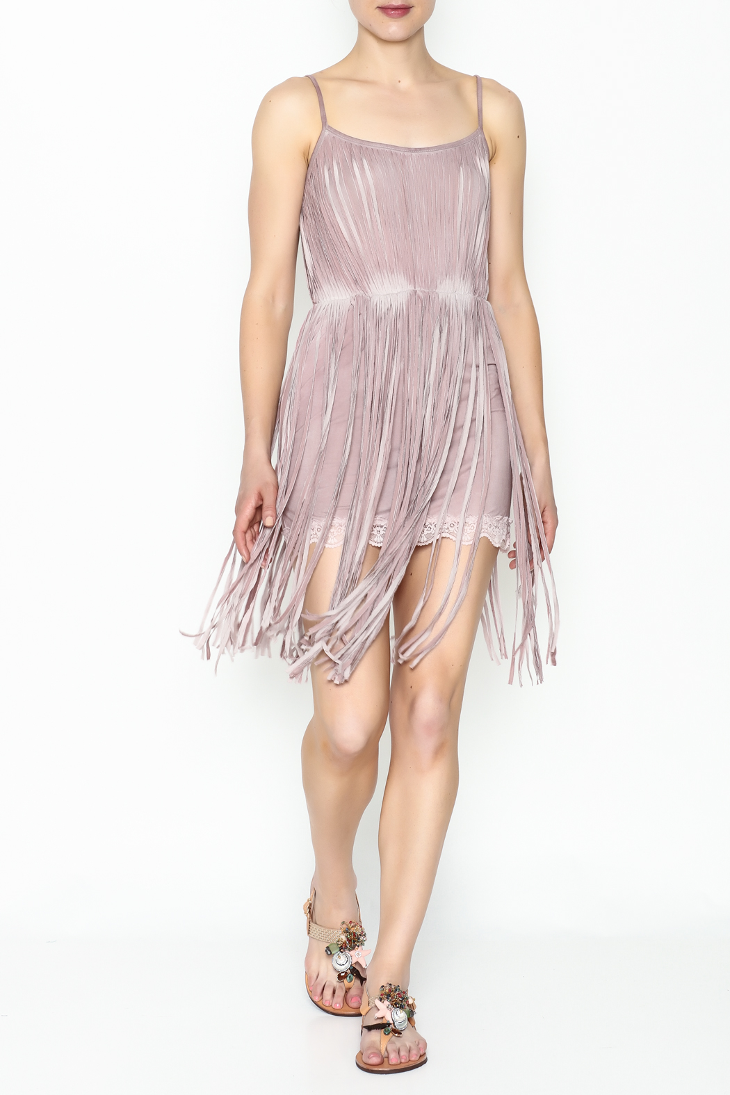 POL Fringe Slip Dress - Side Cropped Image
