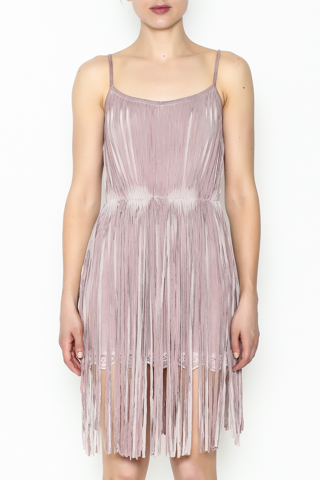 POL Fringe Slip Dress - Front Full Image