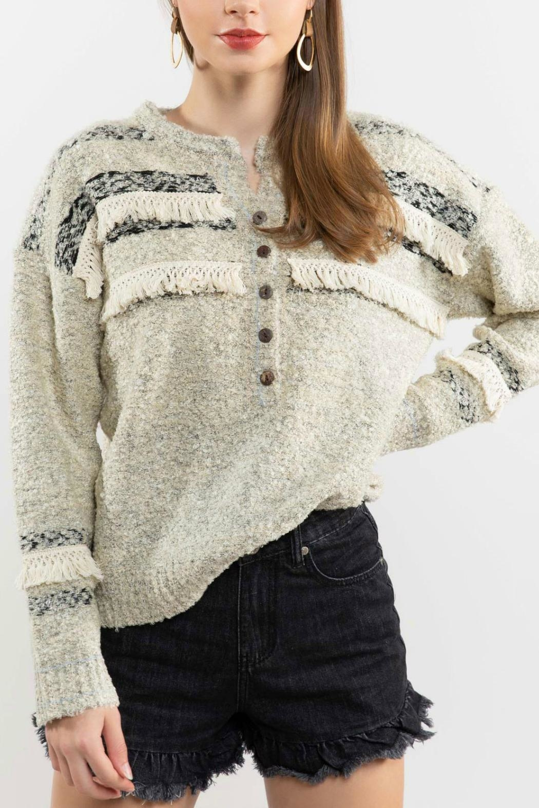 POL Fringe-Trimmed Sweater - Main Image