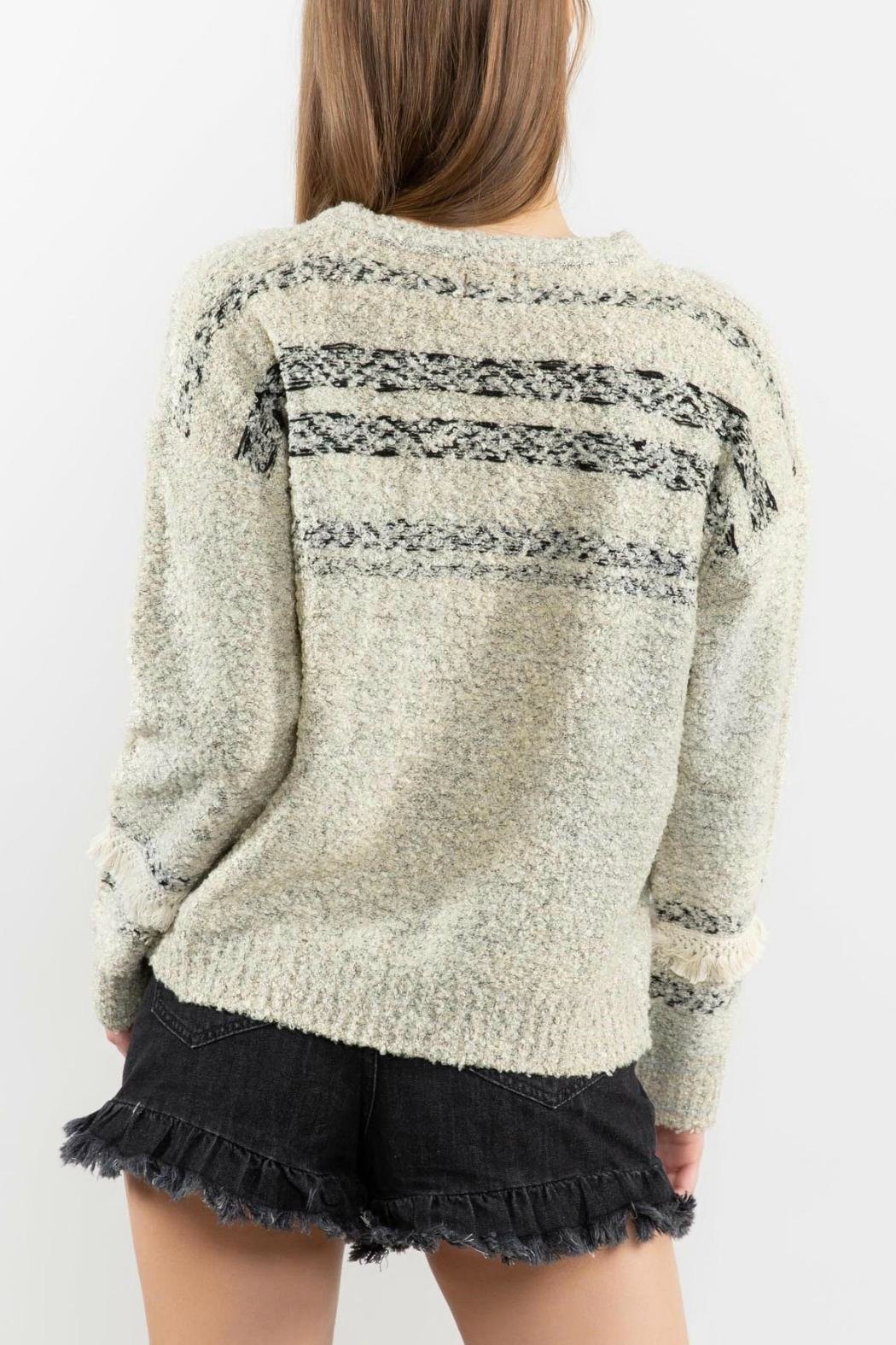 POL Fringe-Trimmed Sweater - Front Full Image
