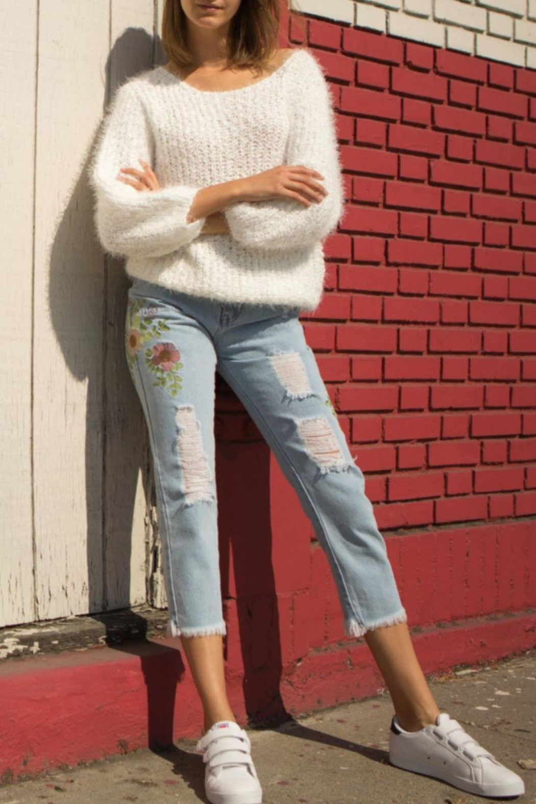 POL Fuzzy-Alpaca Wide-Neck Sweater - Front Full Image