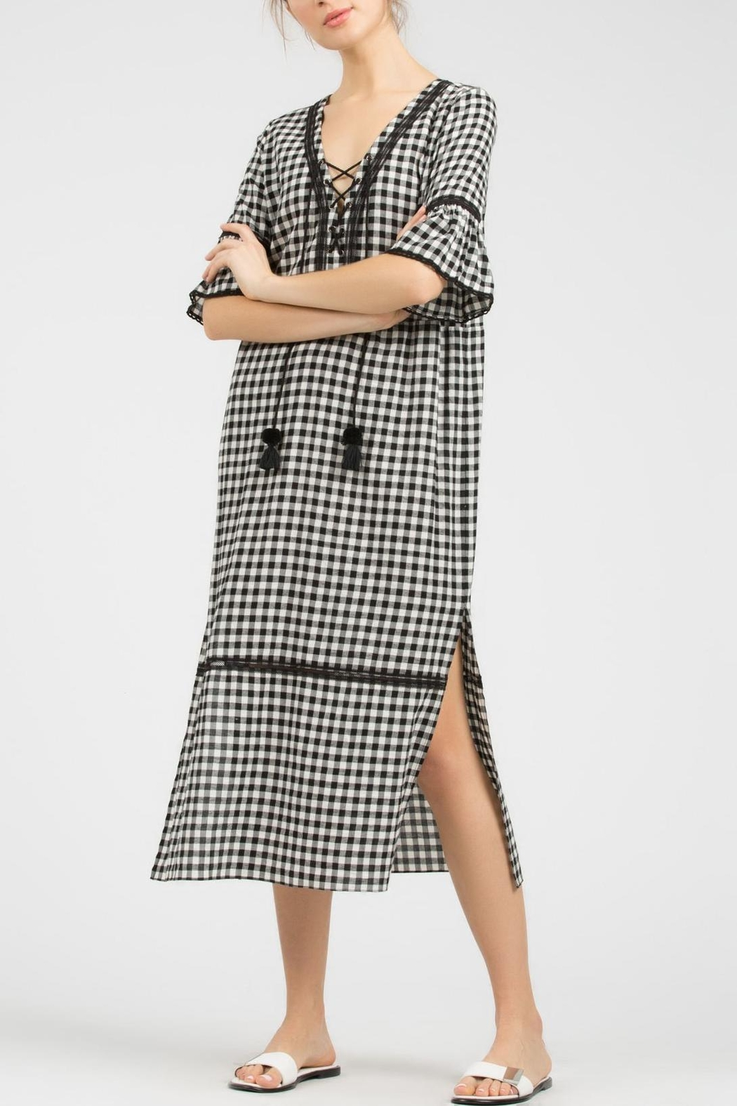 POL Gingham Midi Dress - Front Cropped Image