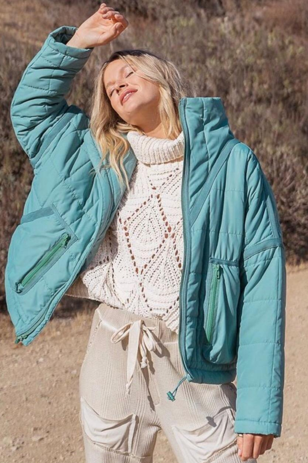POL Green Quilted Jacket - Main Image