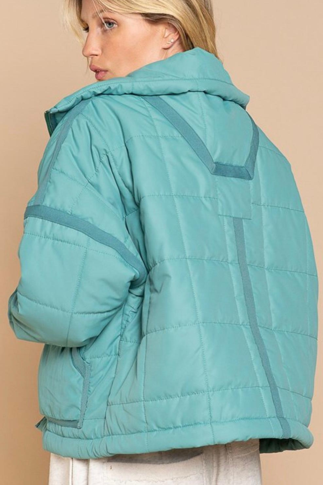 POL Green Quilted Jacket - Front Full Image