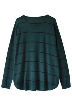 Shoptiques Product: Green Stripe Knit Sweater