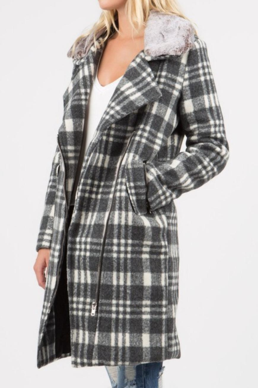 POL Grey Plaid Coat - Front Cropped Image