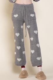 POL Berber Grey & White Heart Pants - Front cropped
