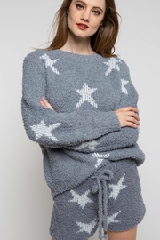POL Berber Grey & White Star Pullover - Front cropped