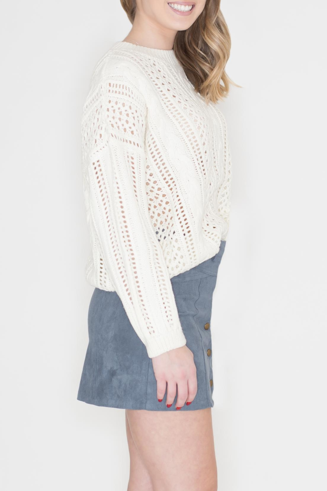 POL Ivory Cable-Knit Sweater - Front Full Image