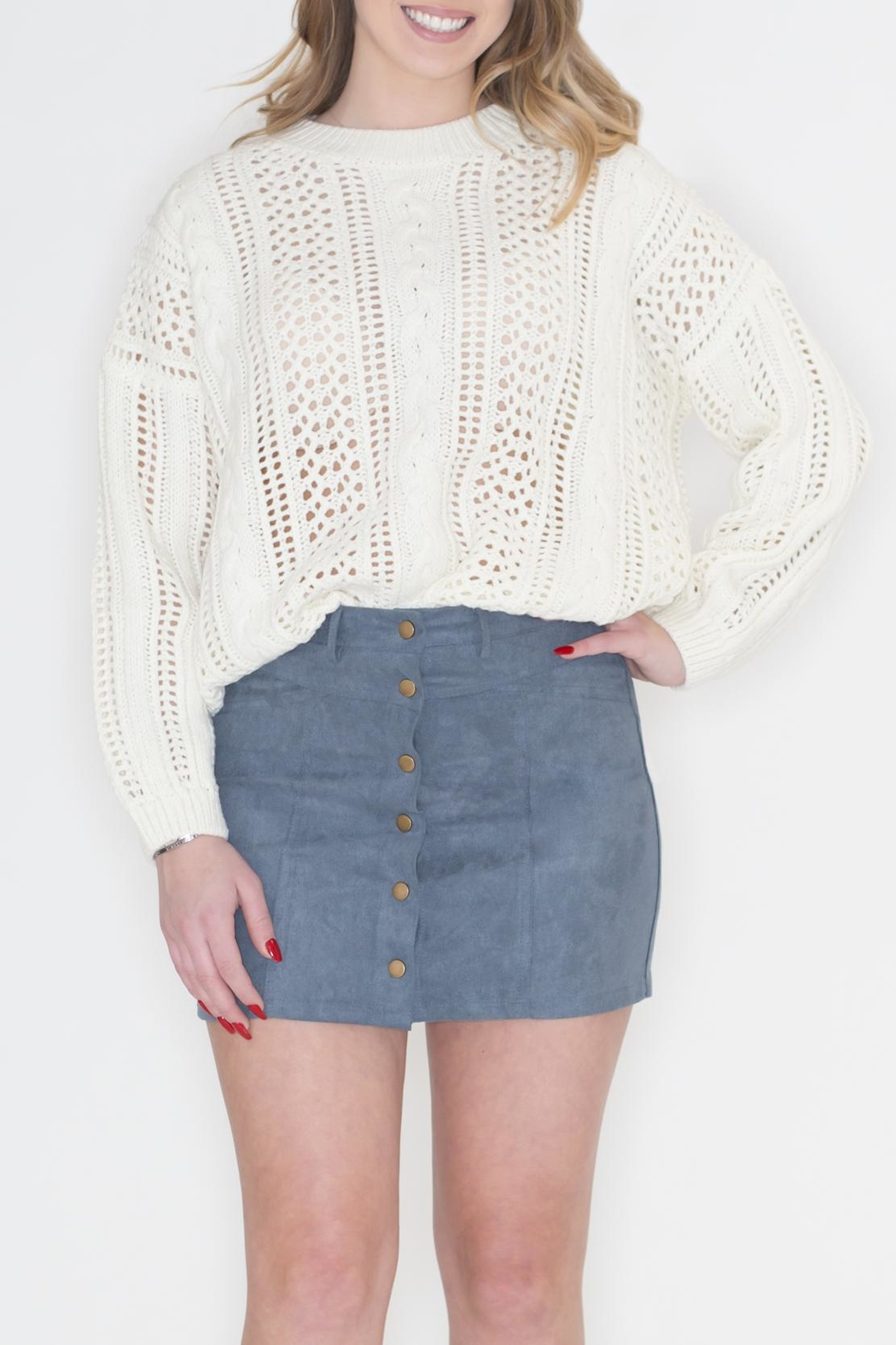 POL Ivory Cable-Knit Sweater - Main Image