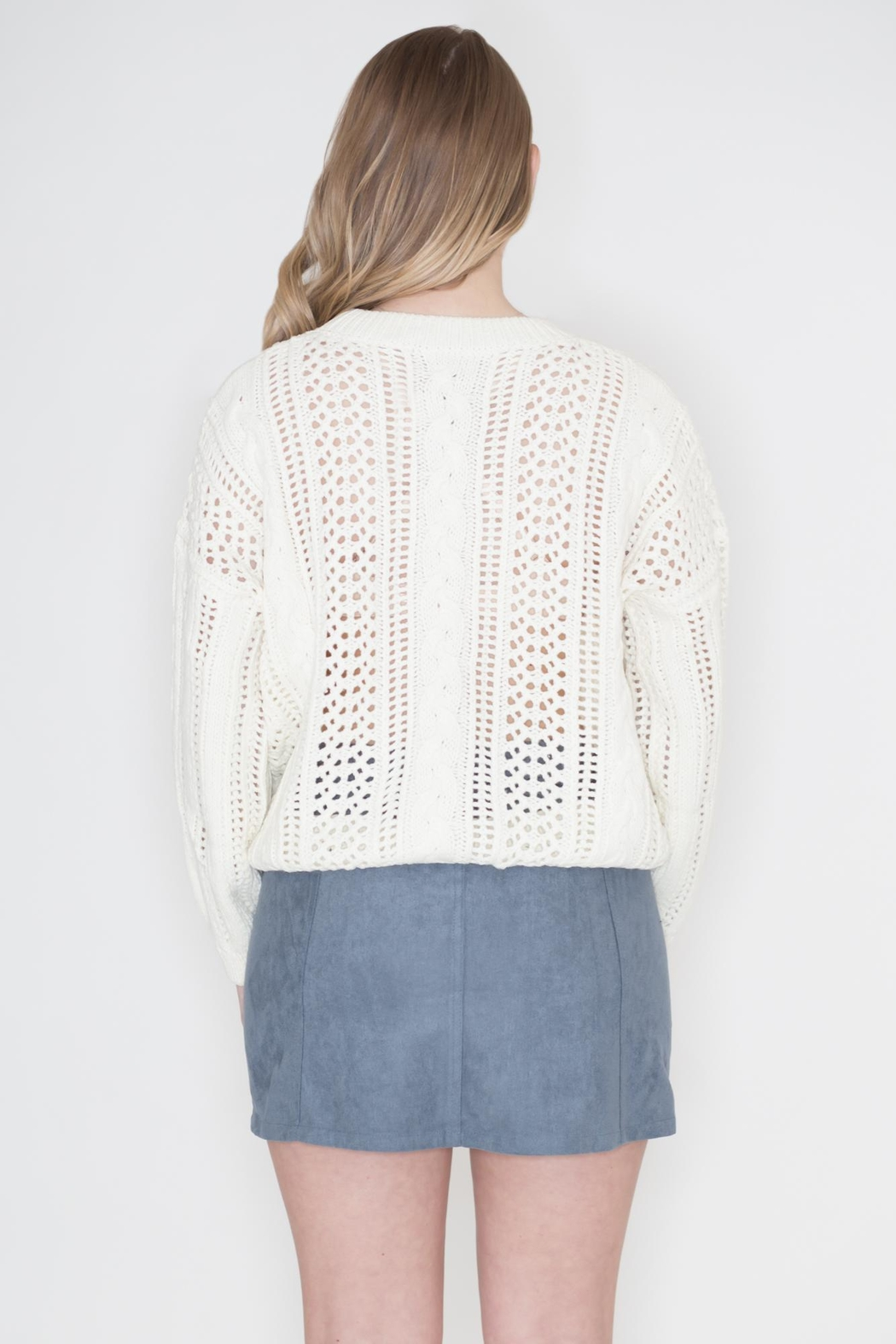 POL Ivory Cable-Knit Sweater - Side Cropped Image