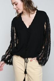 POL Lace Detail Long Sleeve V Neck - Product Mini Image