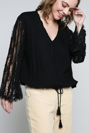 POL Lace Detail Long Sleeve V Neck - Other