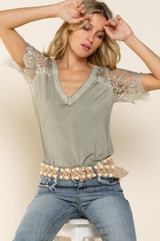 POL Lace Detail V Neck Top - Front cropped