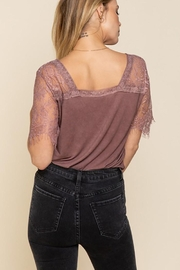 POL Lace Detail V Neck Top - Front full body