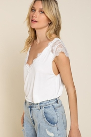 POL Lace Detailed V Neck Top - Side cropped
