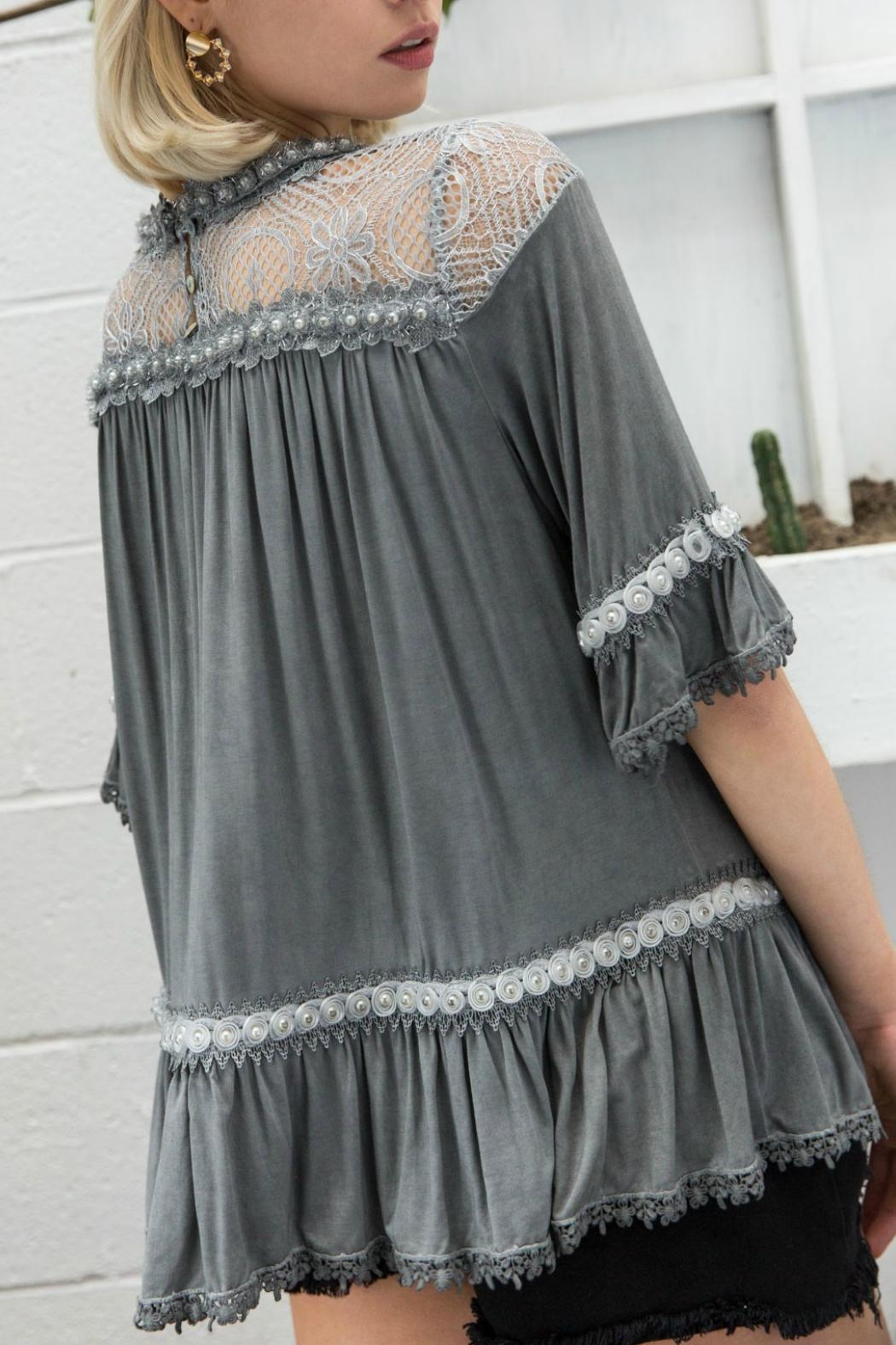 POL Lace/floral Detail Top - Front Full Image