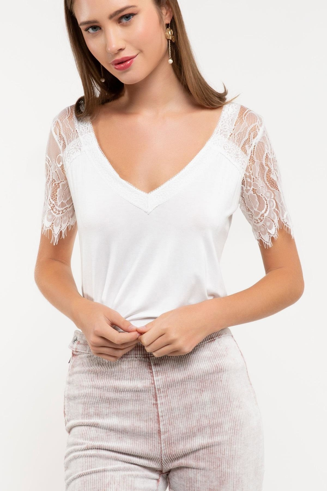 POL Lace Knit Top - Front Cropped Image