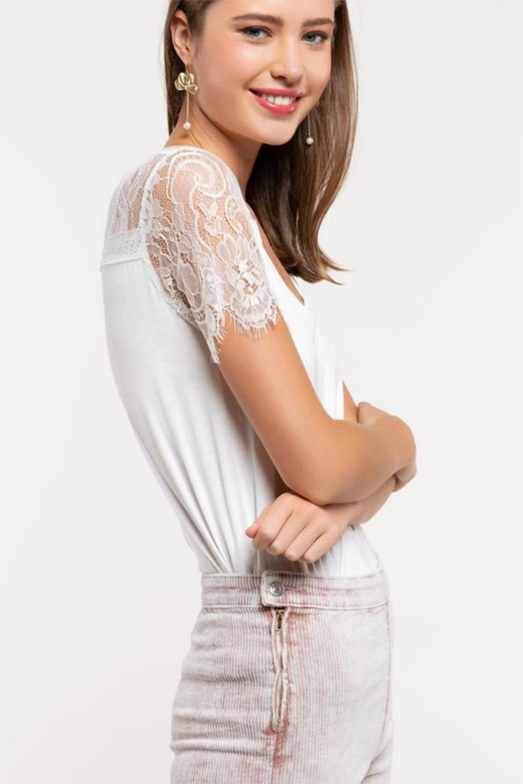 POL Lace Knit Top - Front Full Image