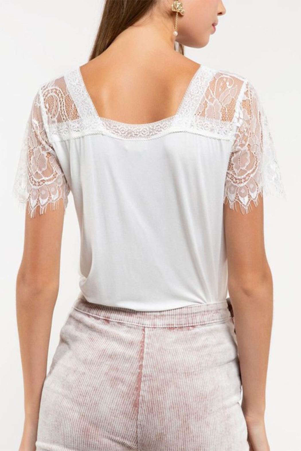 POL Lace Knit Top - Side Cropped Image
