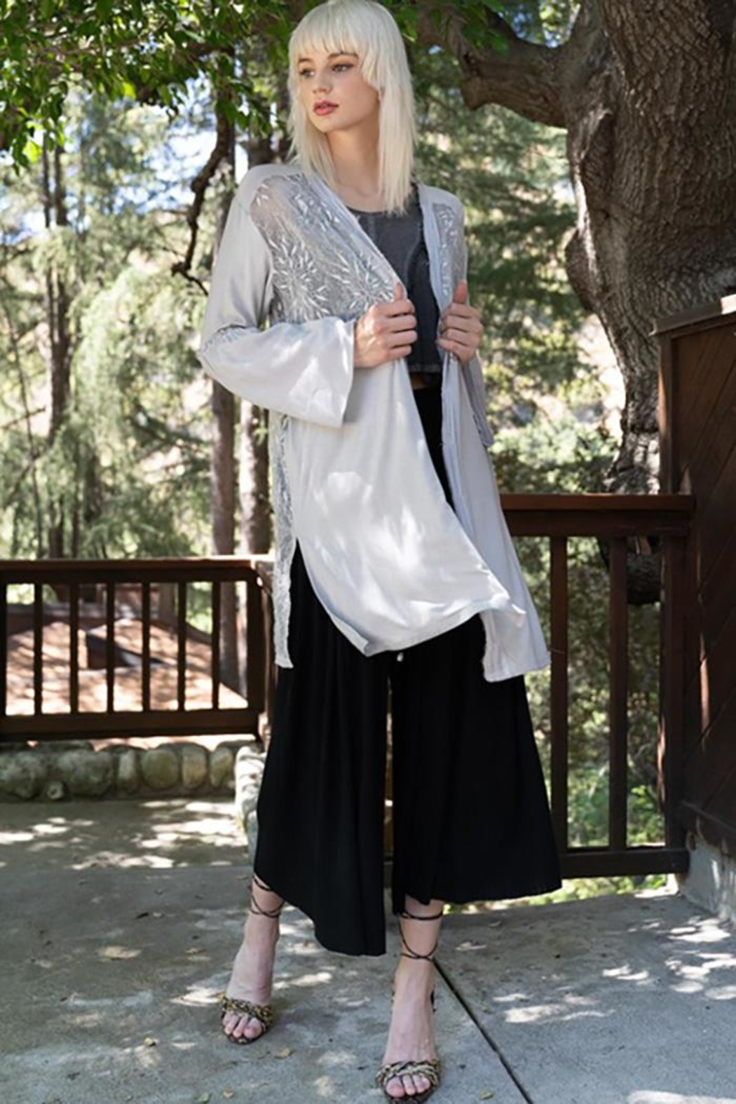 POL Lace Paneled Bell Sleeve Cardigan - Front Cropped Image