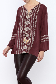 POL Lace Up Embroidered Tunic - Product Mini Image