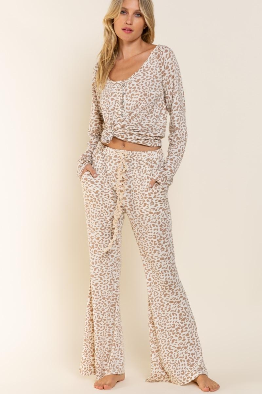 POL Leopard Jersey Pants - Front Cropped Image