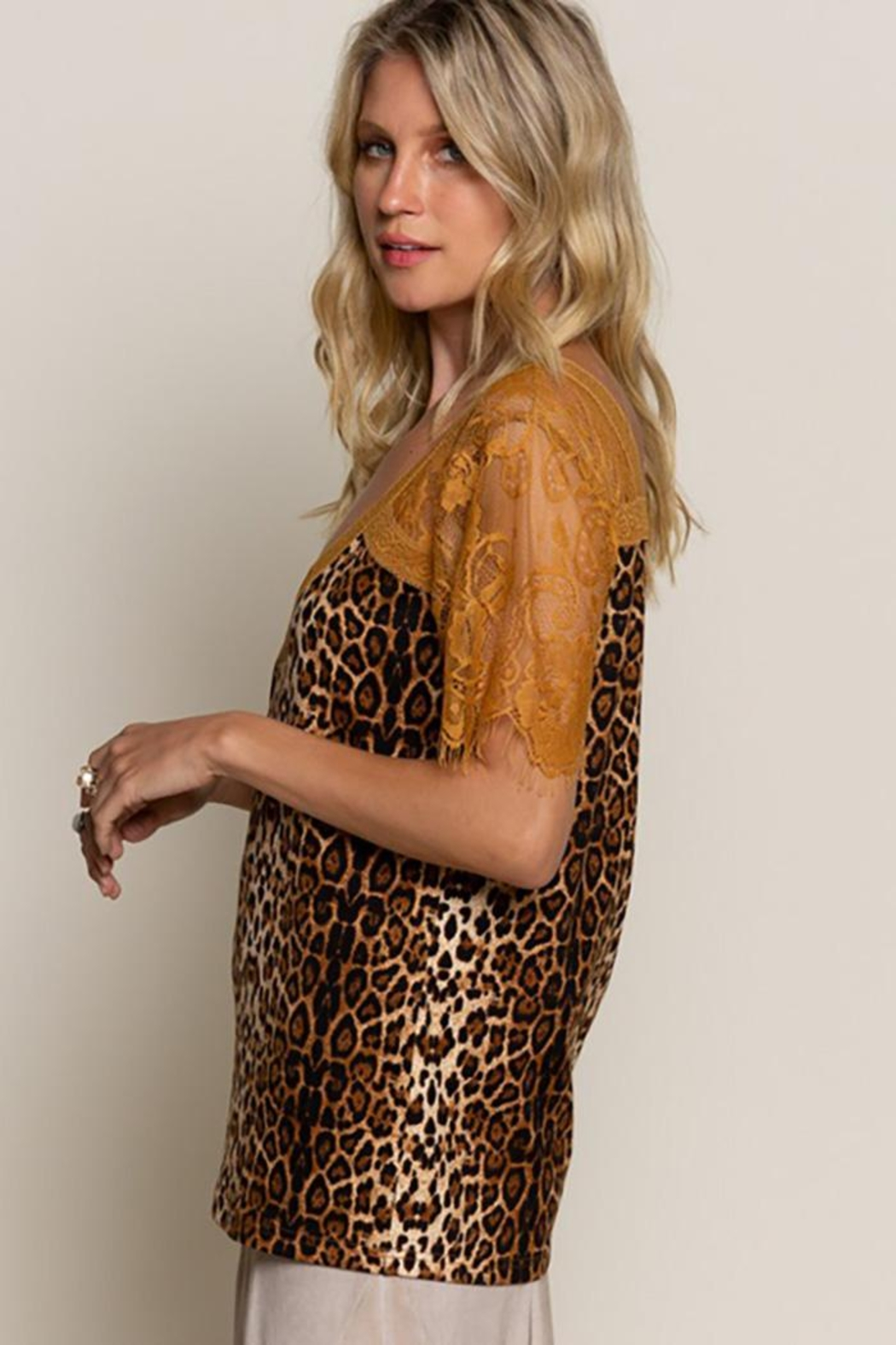 POL Leopard Printed Sweetheart Confession Knit Top - Back Cropped Image