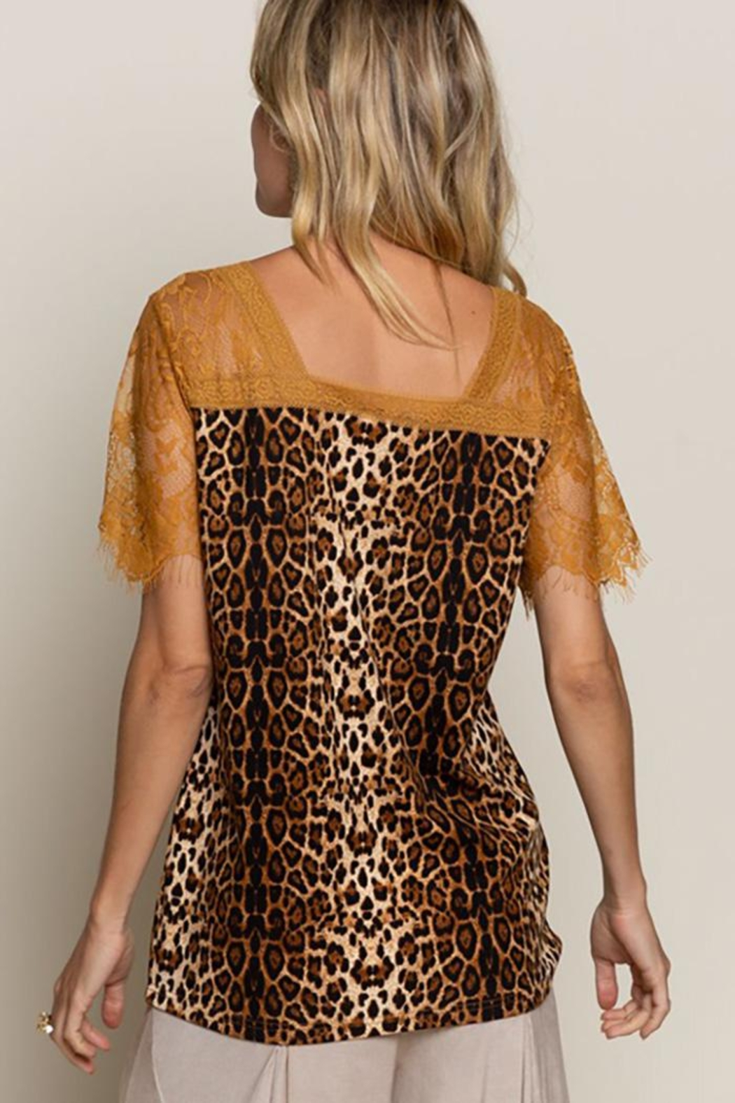 POL Leopard Printed Sweetheart Confession Knit Top - Side Cropped Image