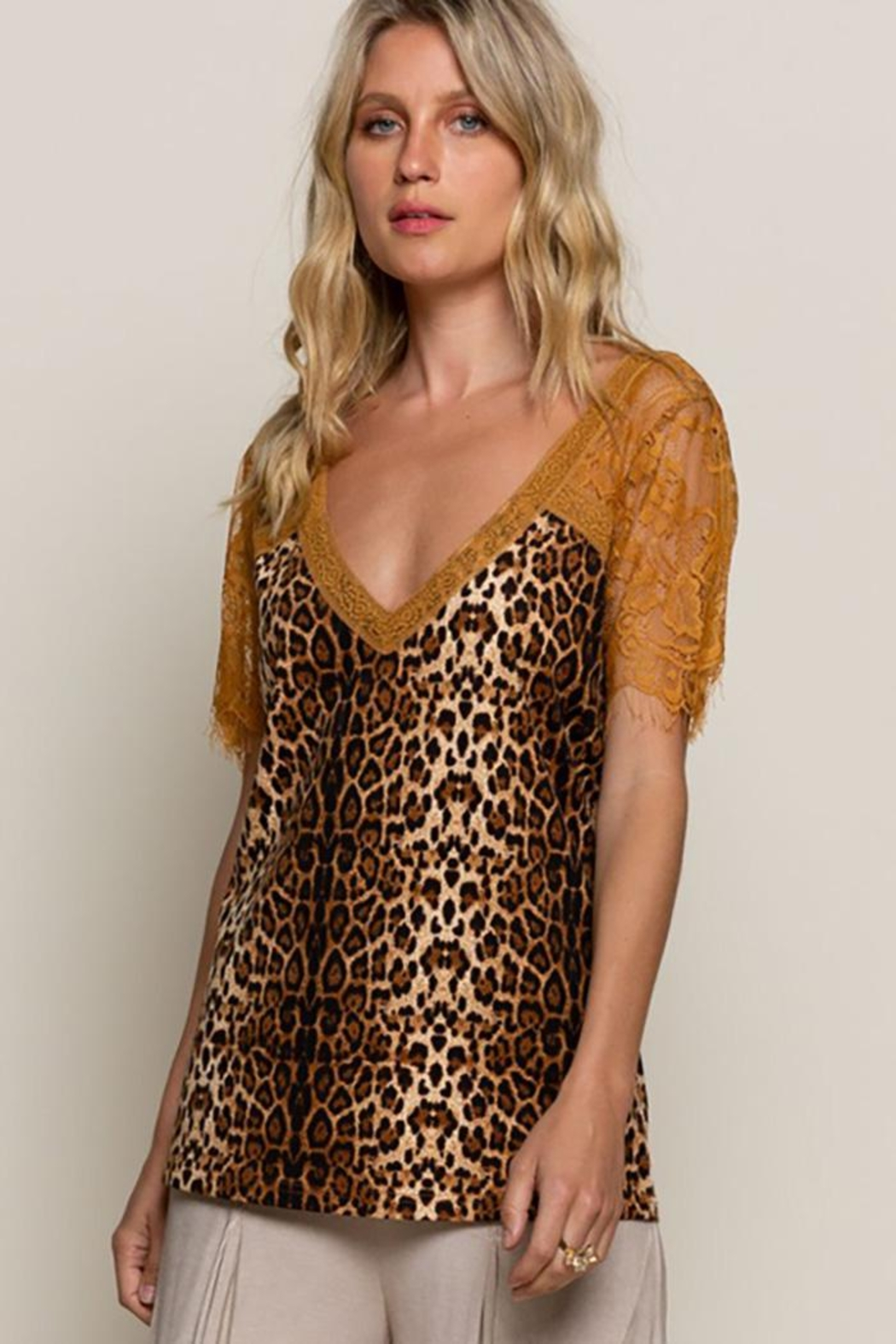 POL Leopard Printed Sweetheart Confession Knit Top - Front Full Image