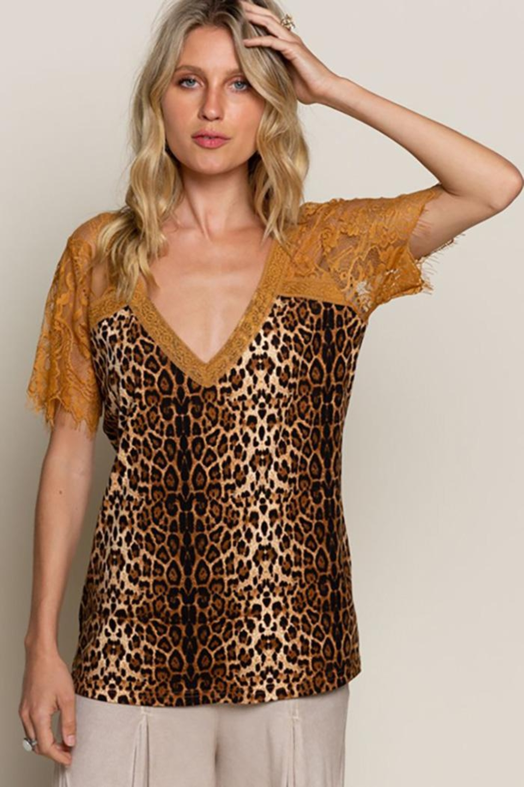 POL Leopard Printed Sweetheart Confession Knit Top - Main Image