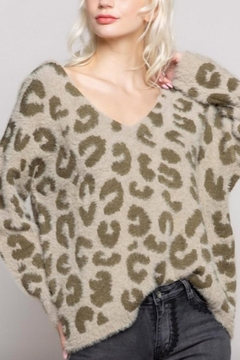 POL Mohair V-Neck Leopard Print Sweater - Product List Image