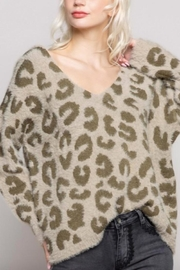 POL Mohair V-Neck Leopard Print Sweater - Product Mini Image
