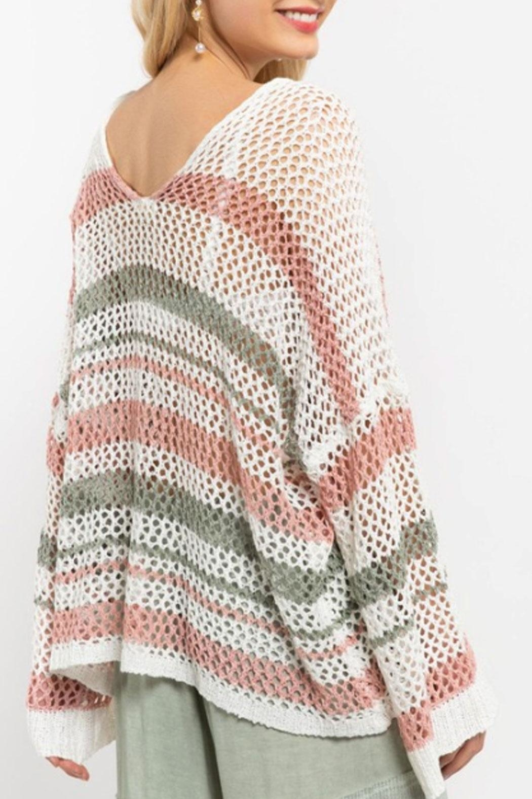 POL Multicolor Crochet Sweater - Side Cropped Image