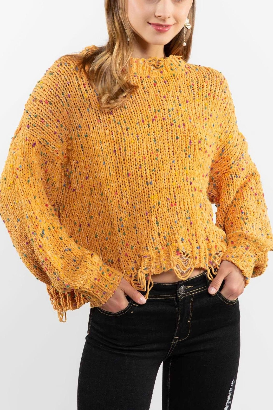 POL Mustard Crewneck Sweater Top - Front Full Image