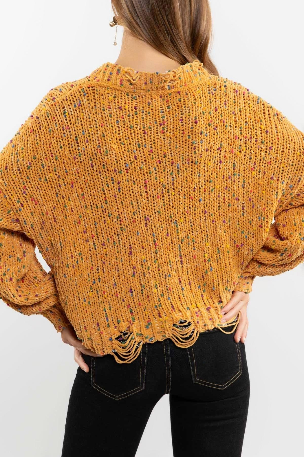 POL Mustard Crewneck Sweater Top - Side Cropped Image