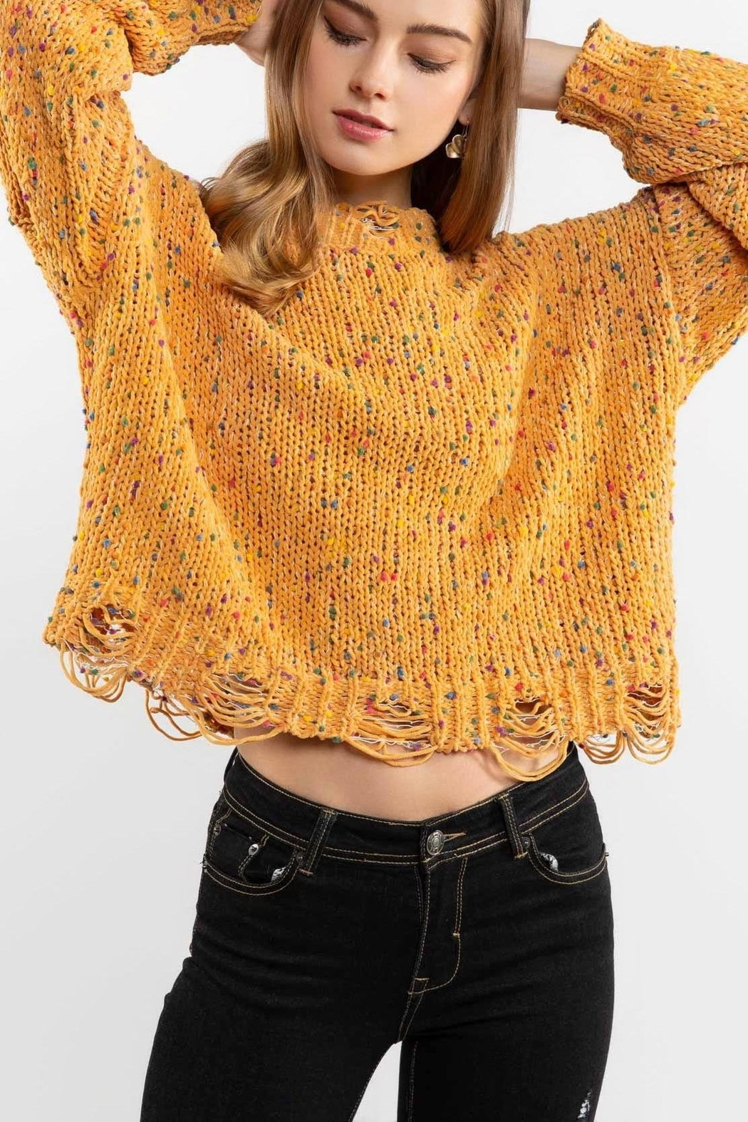POL Mustard Crewneck Sweater Top - Front Cropped Image
