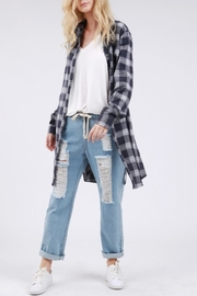 POL Navy Plaid Top - Product Mini Image