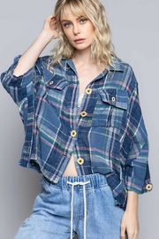 POL New School Plaid Relaxed Fit Top - Product Mini Image