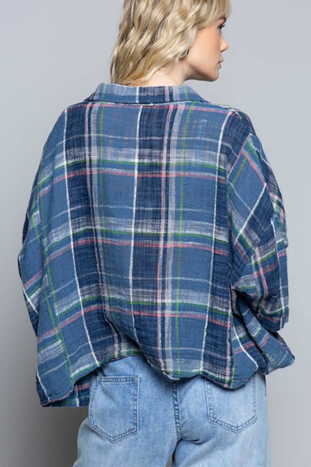 POL New School Plaid Relaxed Fit Top - Front Full Image