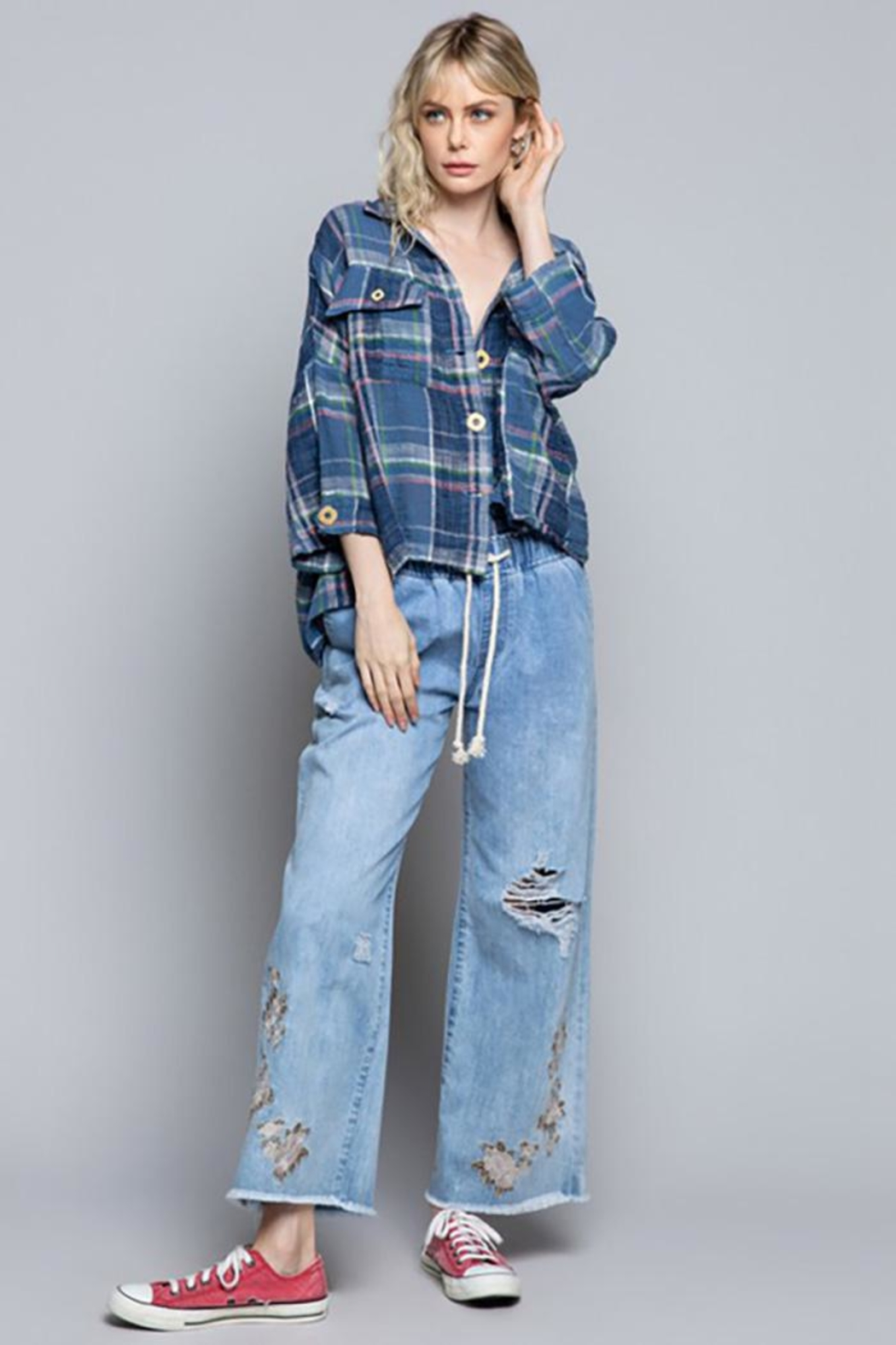 POL New School Plaid Relaxed Fit Top - Back Cropped Image