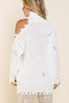 Shoptiques Product: Off Shoulder Distressed Sweater
