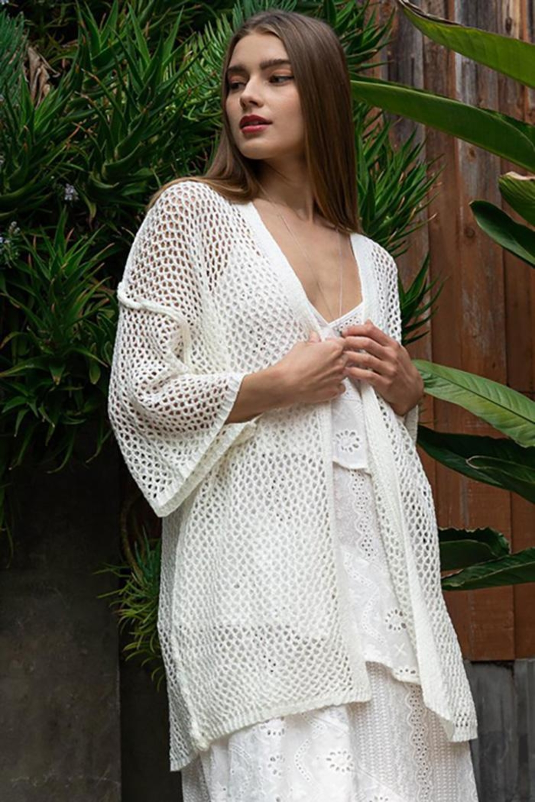 POL Open Weave Knit Kimono Cardigan - Front Cropped Image