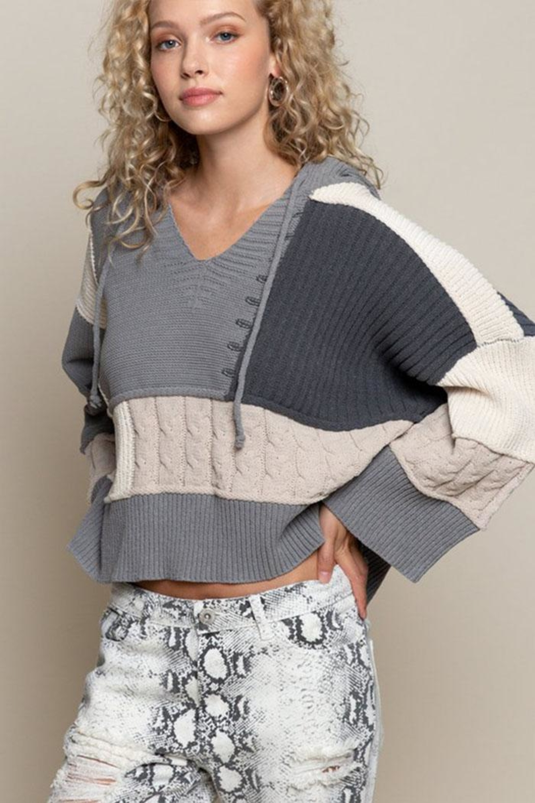 POL Oversize Color-Block Sweater - Front Full Image