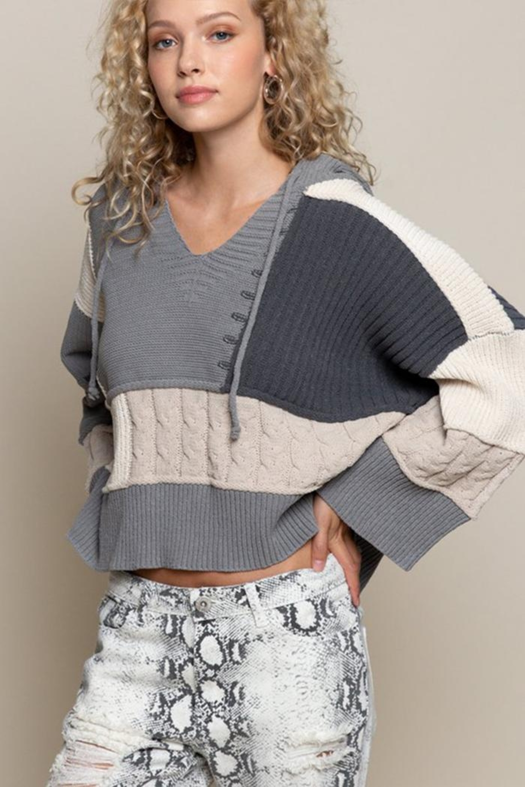 POL Oversized Color-Block Sweater - Front Full Image
