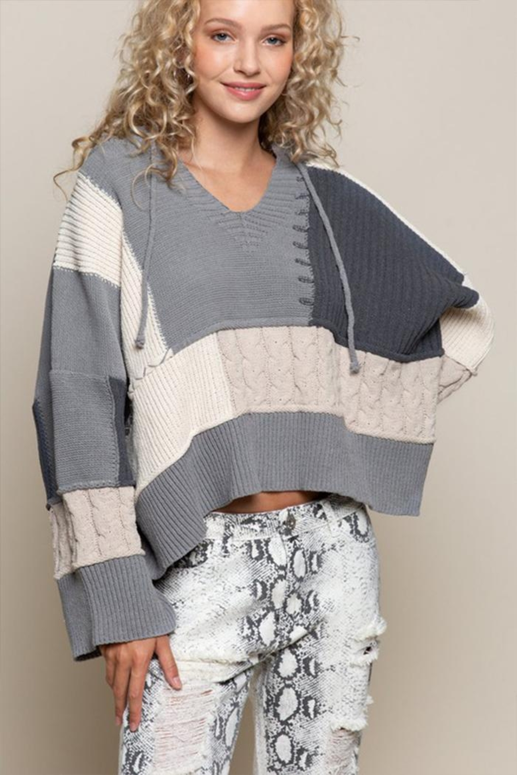 POL Oversized Color-Block Sweater - Main Image