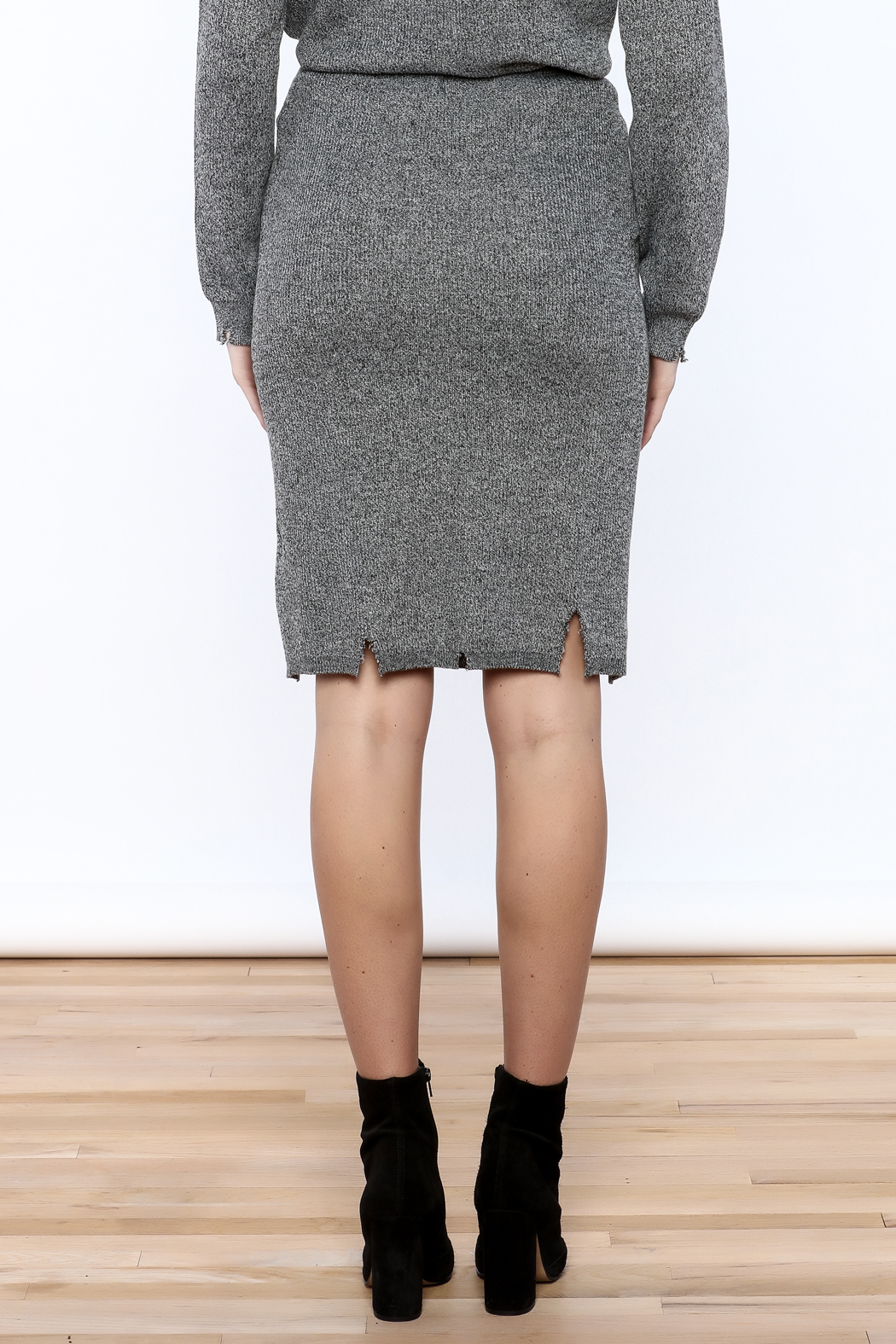 POL Grey Distressed Pencil Skirt - Back Cropped Image