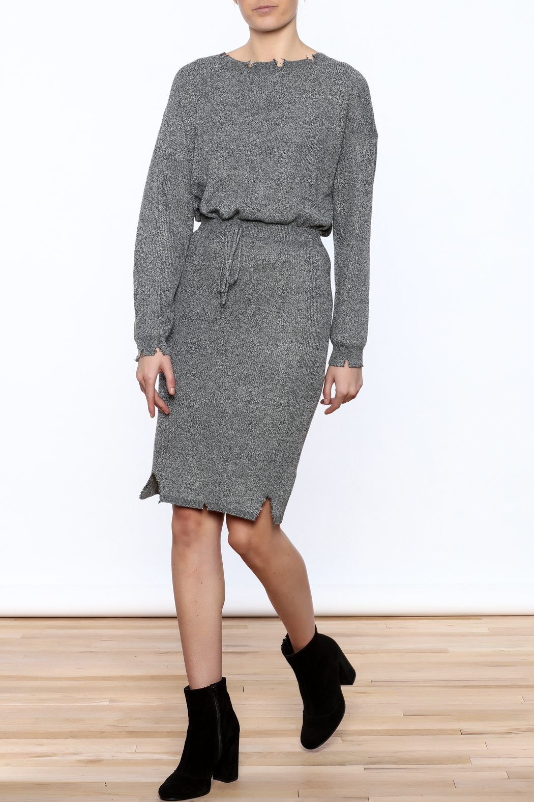 POL Grey Distressed Pencil Skirt - Front Full Image